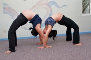 Prenatal Yoga Urdhva Dhanurasana Wheel Partner Pose