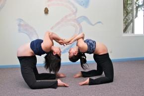 Prenatal Yoga Ustrasana Camel Partner Pose