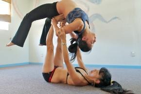 Prenatal Yoga Wheel Partner Pose