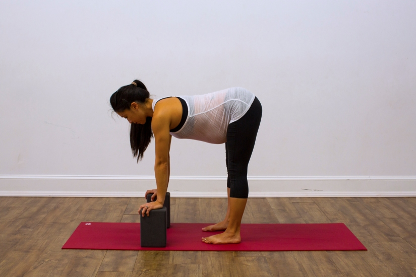 Prenatal Yoga Modifications Halfway Lift Forward Fold